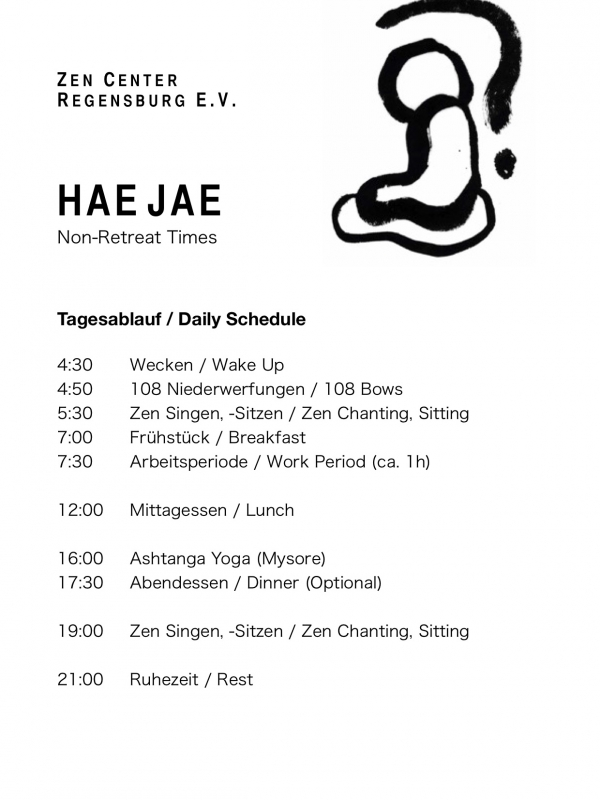 Zen Center Hae Jae Schedule